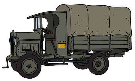 The vectorized hand drawing of a vintage military truck