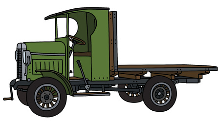 The vectorized hand drawing of a vintage green flat truck