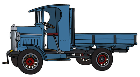 The vectorized hand drawing of a vintage blue truck