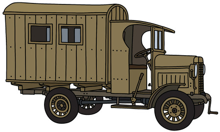 The vectorized hand drawing of a vintage sand military truck