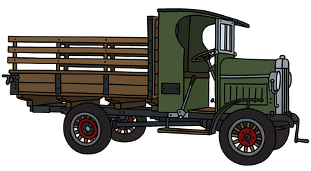 The vectorized hand drawing of a vintage green truck Illustration