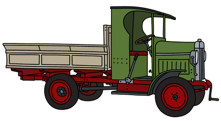 The vectorized hand drawing of a vintage green truck Stock Illustratie