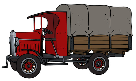 The vectorized hand drawing of a vintage red delivery cover truck