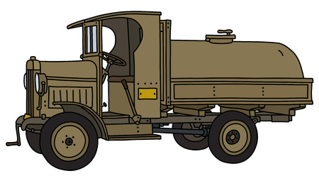The vectorized hand drawing of a vintage military tank truck