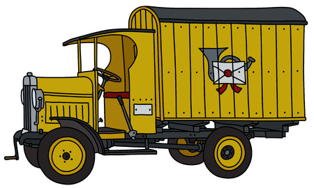 The vectorized hand drawing of a vintage yellow post truck Stock Illustratie