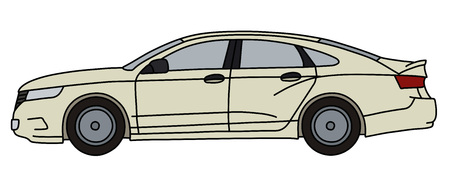 The vectorized hand drawing of a white car, not a real model Иллюстрация
