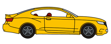 The vectorized hand drawing of a yellow sports car, not a real model