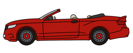 The vectorized hand drawing of a red convertible, not a real model