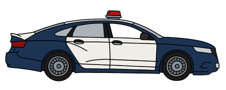 The vectorized hand drawing of a big police car, not a real model
