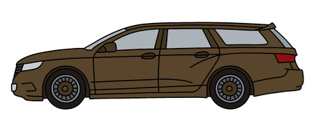 The brown station wagon, not a real model Иллюстрация