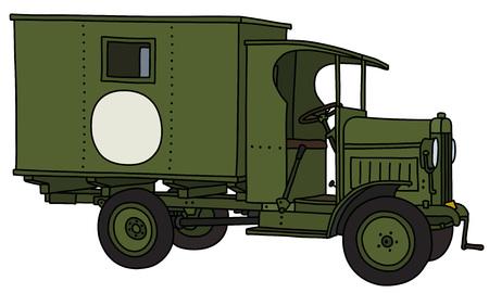 El dibujo a mano vectorizado de un camión de ambulancia militar vintage