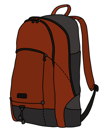 The dark red and black travel bag 向量圖像