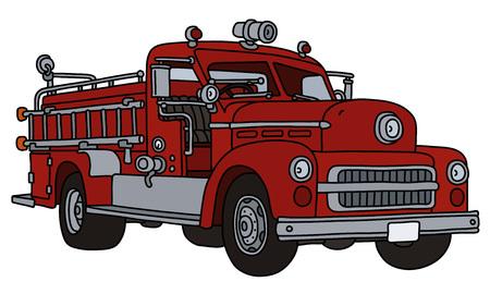 Le camion de pompiers rouge classique