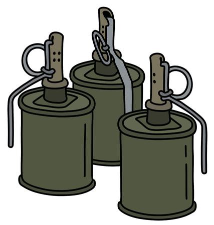 Three old khaki offensive hand grenades Ilustrace