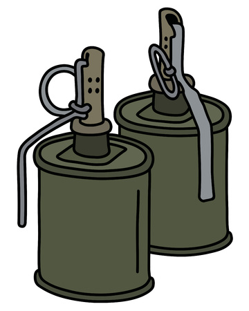 Two old khaki offensive hand grenades