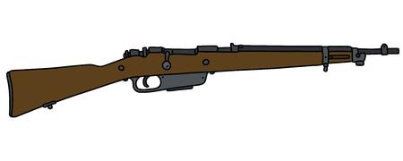 Le dessin à la main vectorisé d'un vieux fusil militaire