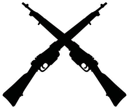 La silueta negra de dos viejos rifles militares