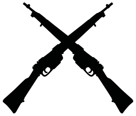 The black silhouette of two old military rifles