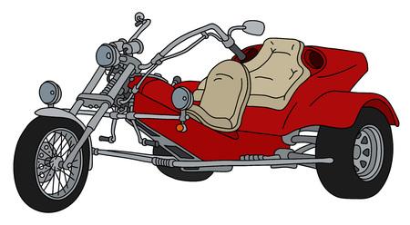 Die Handzeichnung eines roten schweren Motordreirads