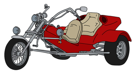 The hand drawing of a red heavy motor tricycle