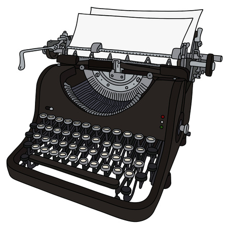 The vectorized hand drawing of a vintage typewriter Banque d'images - 125356498