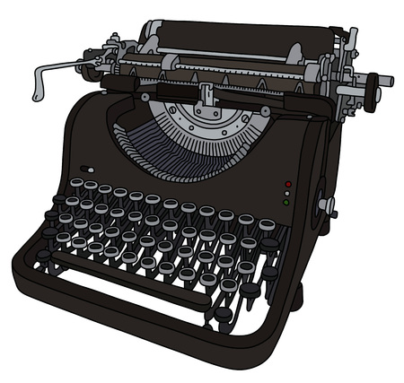 The vectorized hand drawing of a vintage typewriter Banque d'images - 125356499