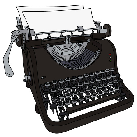 The vectorized hand drawing of a vintage typewriter Banque d'images - 125356501