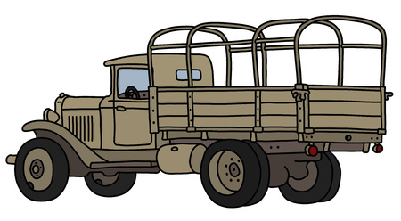 The vectorized hand drawing of an old sand military truck