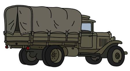 The vectorized hand drawing of an old khaki military truck