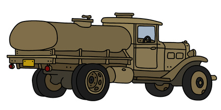 The vectorized hand drawing of an old sand military tank truck Stock Illustratie
