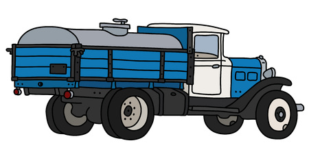 The vectorized hand drawing of a classic blue and white dairy tank truck
