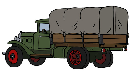 The vectorized hand drawing of an old green delivery cover truck Stock Illustratie