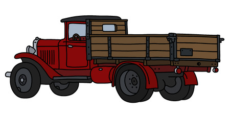 The vectorized hand drawing of a classic red lorry Stock Illustratie