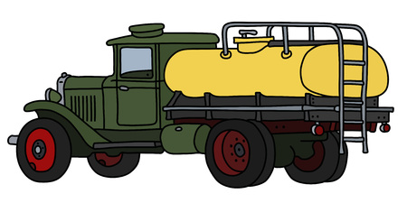 The vectorized hand drawing of an old green and yellow tank truck