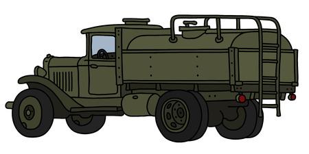 El dibujo a mano vectorizado de un viejo camión cisterna militar de color caqui