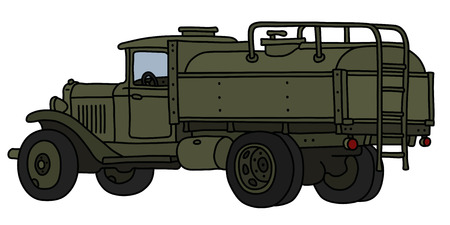 The vectorized hand drawing of an old khaki military tank truck