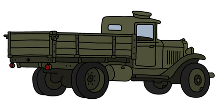 The vectorized hand drawing of an old khaki military lorry truck