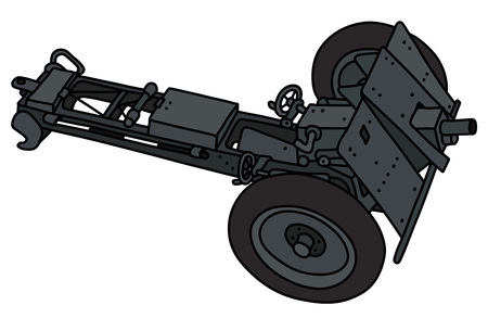 The vectorized hand drawing of an old dark gray field cannon Ilustração