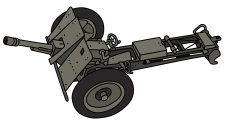 The vectorized hand drawing of an old khaki field cannon