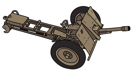 The vectorized hand drawing of an old sand field cannon