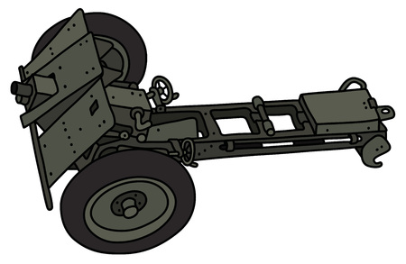 The vectorized hand drawing of a vintage khaki field cannon