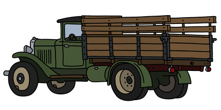 The vectorized hand drawing of a classic green lorry