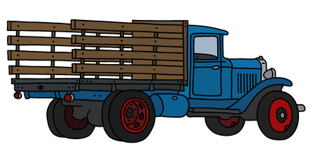 The vectorized hand drawing of a classic blue lorry
