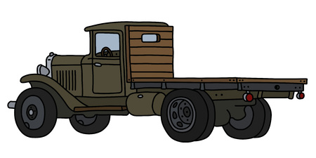 The vectorized hand drawing of a classic khaki lorry