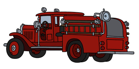 The vectorized hand drawing of a classic fire truck Foto de archivo - 124755489