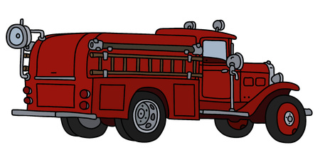 The vectorized hand drawing of a classic fire truck Foto de archivo - 124755490