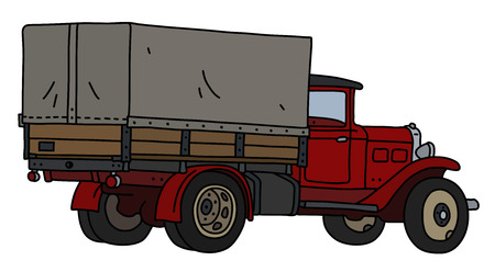 The vectorized hand drawing of an old red delivery cover truck