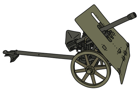 The vectorized hand drawing of an old khaki light cannon