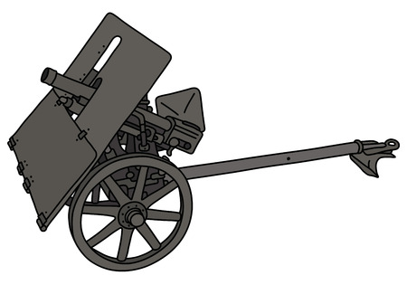The vectorized hand drawing of an old field gray light cannon