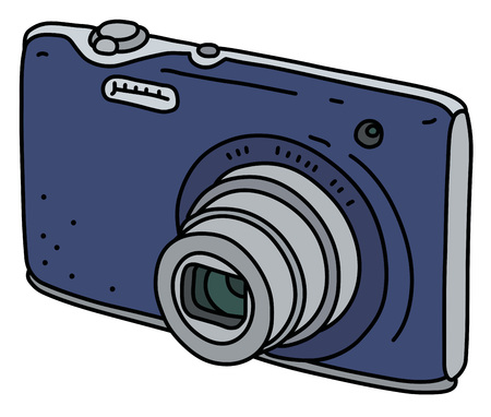 The blue small simple digital compact camera